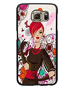 Fuson Butterfly Pattern Girl Back Case Cover for SAMSUNG GALAXY S6 - D4090