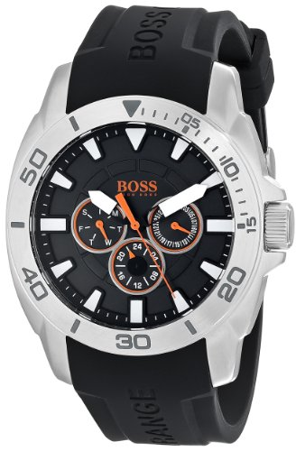BOSS Men's 1512950 Orange Stainless Steel and Silicone Casual Watch