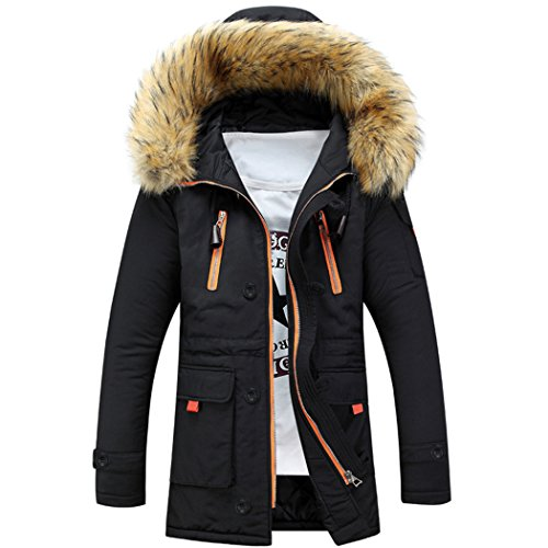 Sun Lorence Men Lengthened Fur Hooded Down Coats Heavy Parka Winter Jackets Black XL