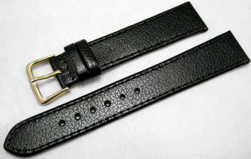 Black Leather Watch Strap Band With A Stitched Edging And Nubuck Lining 18mm