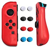 Silicone Case Skin Protector (Slick Red) for Nintendo Switch Controller + 4 Pack Thumb Caps (Black Blue Red White) by OIVO