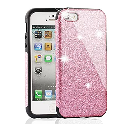 iPhone Case , MEKO® Shiny Sparkle Glitter Bling Case Built-in Sparkles - Premium Firm Rubber Bumper Case [Scratch Resistant] - iPhone 5 5S Case, iPhone SE case ,iPhone 5C Case - (Pink) by MEKO