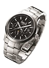 Arbutus Men's Automatic Watch with Black Dial Analogue Display and Silver Stainless Steel Bracelet AR509SBS