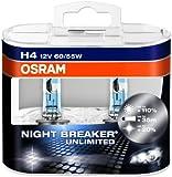 OSRAM NIGHT BREAKER UNLIMITED H4 Halogen Scheinwerferlampe  64193NBU-HCB +110% mehr Licht und +20% weißeres Licht im 2er-Set