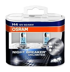 OSRAM NIGHT BREAKER UNLIMITED H4 Lampe automobile halogène  64193NBU-HCB +110% de lumière en plus et +20% de lumière plus blanche Quantité par 2