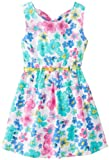 Little Lass Girls 2-6X Floral Print Poplin Dress, Yellow/Turquoise, 6