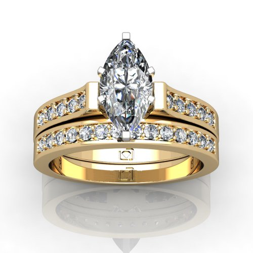 14Kt Yellow Beautifully Designed Contour Shank Wedding Set That Features Elegantly Set Round Brilliant Cut Diamonds 1/4 Ctw. This Item Includes A Free Cubic Zirconia Center In The Shape Shown.