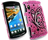 FLASH SUPERSTORE SONY ERICSSON XPERIA PLAY Z1 DIAMANTE HARD BACK COVER BUTTERFLY HOT PINK