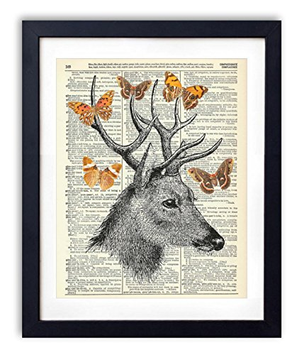deer-with-butterflies-upcycled-vintage-dictionary-art-print-8x10