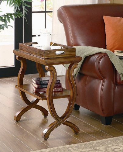 Coaster 900974 Chairside Table, Warm Brown front-956844