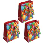 Small Happy Birthday Premium Paper Gift Bags with Tags (4.5 X 5.75 X 2.375) - Pack of 3