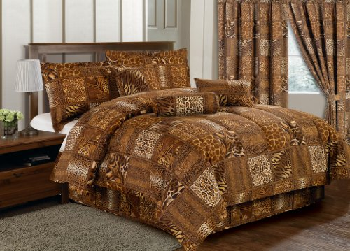 7 Pc Animal Leopard Snake Tiger, Giraffe Brown Microfiber Print Comforter Set Queen front-1014029