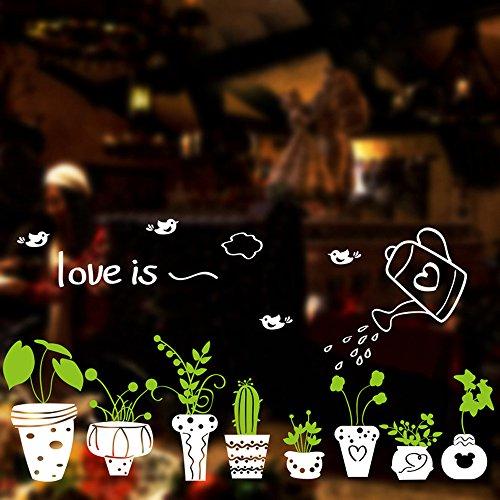 Japace plantes et de papillons en pot vertes stickers for Plante verte chambre a coucher