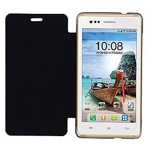 Acm Leather Diary Folio Flip Flap Case For Intex Aqua 4.5E Mobile Front & Back Cover Black