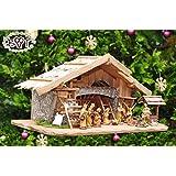 BTV K60MFHO Crèche de Noël en bois avec 12 santons en bois véritable peints à la main dont 3 rois mages