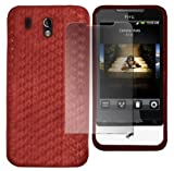 Red HTC Legend Hexagon Diamond Shape Hydro Soft Hex TPU Silicone Gel Skins Mobile Phone Mobile Phone Case Cover With Free Ultra Clear LCD Screen Film Protector