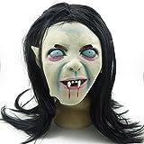 Pixnor Máscara horrible de Halloween espeluznante terrorífico Zombie Toothy fantasma Sadako mascarilla con el pelo para traje de Cosplay