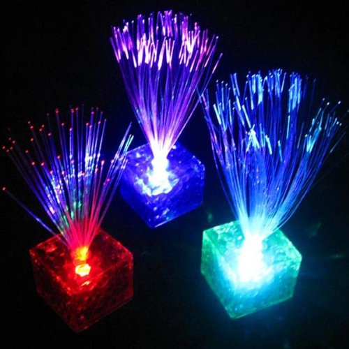 1 Pcs Random Color Cube 7 Color Changing Optical Fiber Flashing Led Colorful Night Light Holiday Decoration Party Lamp