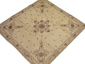 Artisan Handcrafted Beaded Tablecloth Pale Gold Fabric Party India Topper 40in