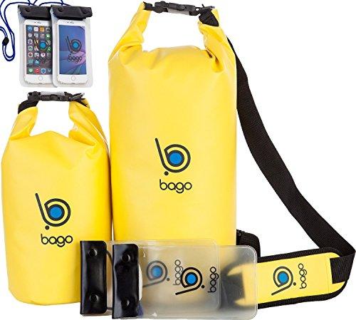 Bago Borse Dry - Borsa impermeabile con finestra trasparente e casse mobili (Yellow, 5L + 10L)