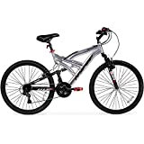 26-Hyper-Summit-Mens-Mountain-Bike-Silver-Aluminum-Frame-Bicycle-Shimano-Equipped-26-inch-Full-Suspension