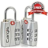 """TSA Luggage Locks (2 Pack). Best TSA Approved Heavy Duty Zinc Alloy, Personalized Combination Padlock. Cargis Suitcase Locks Have """"Lock Open Alert"""" + """"Lock Safe Protection"""" to Ensure Your Travel Baggage is Never Left Unlocked. Lifetime Warranty."""