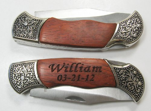 1 Personalized Engraved Pocket Knife Wood & Metal Handle Holidays Birthday Groomsmen Gift