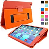 iPad Air (iPad 5) Case, Snugg™ - Smart Cover with Flip Stand & Lifetime Guarantee (Orange Leather) for Apple iPad Air (2013)
