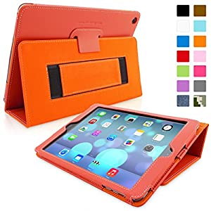 SnuggTM iPad Air (iPad 5) Case - Smart Cover with Flip Stand & Lifetime Guarantee (Orange Leather) for Apple iPad Air (2013)