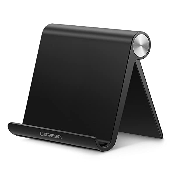 UGREEN Tablet Stand Holder Desk Adjustable Compatible with iPad 9.7 2018, iPad Pro 10.5 Air Mini 2 3 4, Nintendo Switch, Samsung Galaxy Tab S4 S3, E-Reader, iPhone X 8 Plus 6 7 XS Max 6S 5 (Black) (Color: Black)