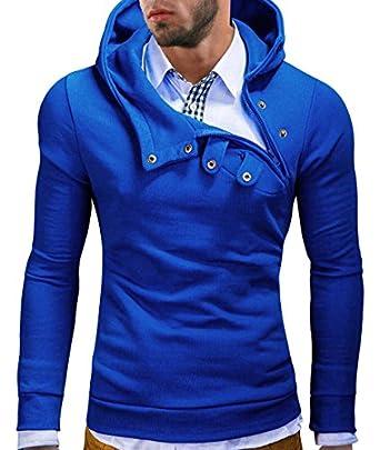 MT Styles Kapuzenpullover Hoher Kragen Pullover Hoodie S-135 [Blau, S]