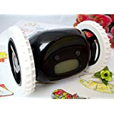 EUBEST New Alarm Clock for Heavy Sleepers on Wheels Runaway Clock Thanksgiving Day gifts(Black)