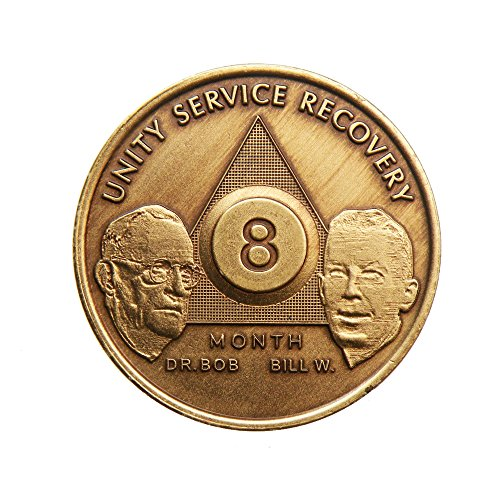 8 Month Bill & Bob Founders Edition Bronze AA (Alcoholics Anonymous) - Sober / Sobriety / Birthday - Anniversary Recovery Medallion / Coin / Chip