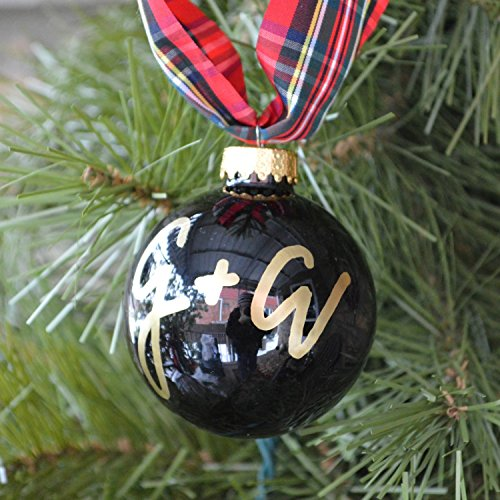 Personalized 'Bride and Groom' Christmas Ball Ornament - Modern Script Letters - Customize Letters, Colors and Style - A Great Wedding Gift