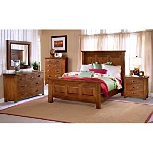 Outback distressed chestnut bedroom set with for Bedroom furniture amazon