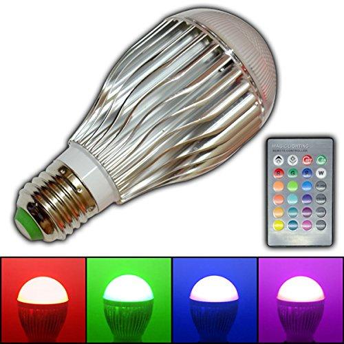 E27 RGB LED - Farbwechsel Lampe 5 Watt mit Fernbedienung Farblicht Lampe Strahler Glühbirne Birne Leuchtmittel Spot