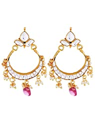 Charvi Jewels White And Pink Kundan Earrings For Women - B00NU1A3G2