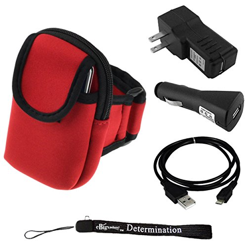 "Running Armband (Fits 10"" Up To 17"" Arms) For Archos 40B Titanium Smartphone + Car Usb Charger + Home Usb Charger + Usb Sync Cable + Determination Hand Strap"