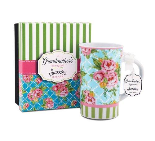 Jessie Steele 49028 You & Me 4-3/4-Inch Blue Cottage Rose Mug, Grandmother, 12-Ounce front-20004