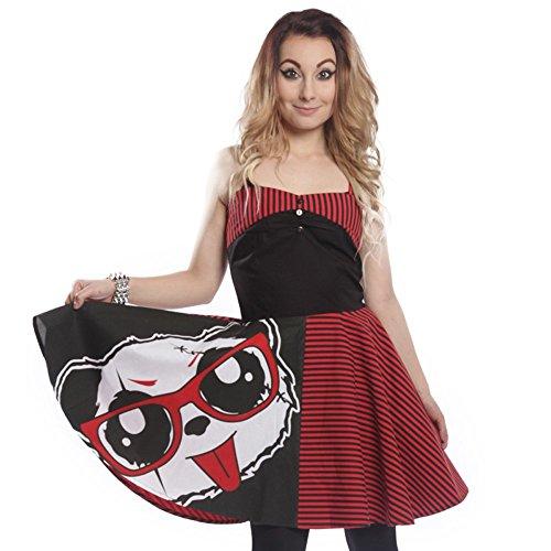 Killer Panda Mini estivo - Nana istituzione Dress Vestito Abito a righe nero/rosso X-Large