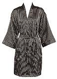 Leisureland Elastic Satin Kimono Short Robe Polka Dots
