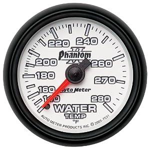 "Auto Meter 7531 Phantom II 2-1/16"" 140-280 Degree Fahrenheit Mechanical Water Temperature Gauge"
