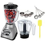 Oster 6878 Core 16-Speed Blender in Brushed Nickle w/ Glass Jar (Black) + Stainless Measuring Cup Set + Steel Measuring Spoons, 4-Pcs Set + Silicone Spatula