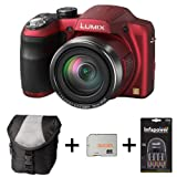 Panasonic Lumix DMC-LZ30 - Red + Case + 32GB Memory + 4 AA Batteries and Charger(16.1MP, 35x Optical Zoom, 25mm Wide Angle, Panaroma Shot, HD Video) 3 inch LCD