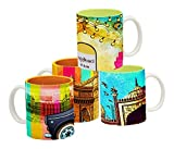 Tangerine Indie Tadka Dilli and Mumbai Porcelain Mug Set, 250ml, Set of 4, Multicolour