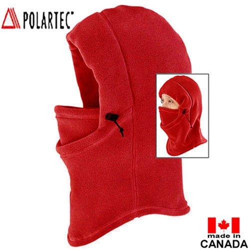 TAIGA Unisex Polartec Thermal Fleece Polar Hood, Color: Red, MADE IN CANADA