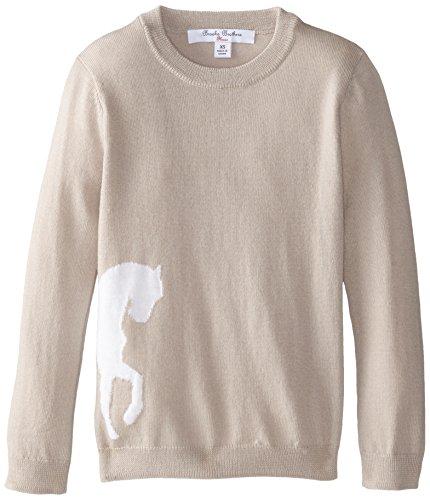 Brooks Brothers Big Girls' Horse Intarsia Sweater, Oat/White, Small
