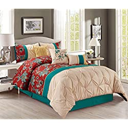 Grand Linen Pinch Pleat 7 Piece Bedding Set with Accent Pillows, Queen, Teal Blue / Brick Red / Yellow / Beige Embroidered