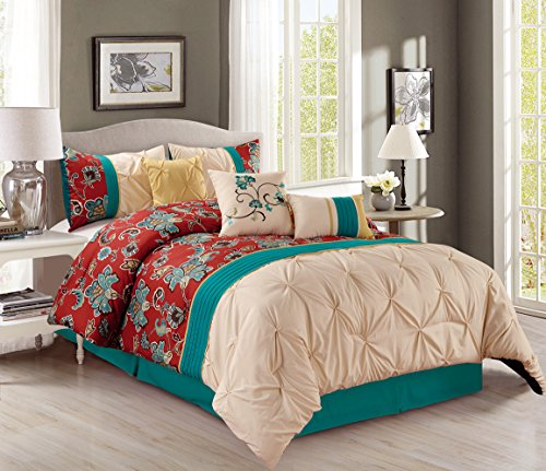 Pinch-Pleat-7-Piece-Bedding-Teal-Blue-Brick-Red-Yellow-Beige-Embroidered-King-Comforter-Set-with-accent-pillows