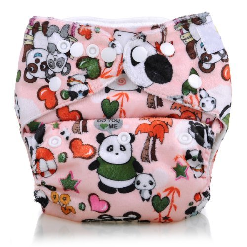 Breathable Adjustable Microfleece One Size Cloth Diapers, Panda Printed